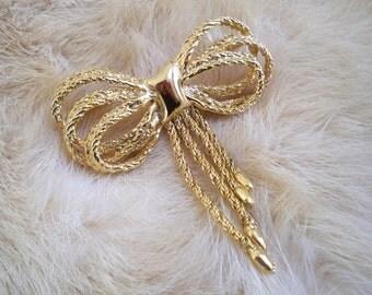 Vintage Jewelry Brooch Pearl Bow Tassel Pin Brooch Costume Jewelry
