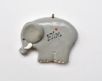 Personalized Elephant Christmas Ornament, Animal, Bama, Childrens ornament