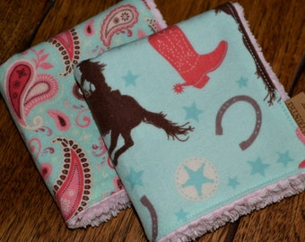 Western Cowgirl Baby/children's washcloths Set of 2 SPECIAL ORDER ITEM