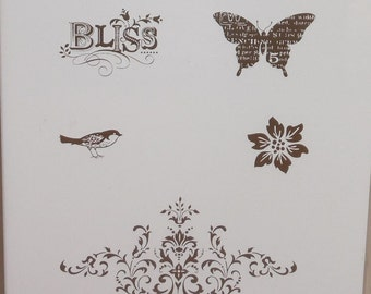 Stampin Up Sale A Bration BLISS 5 Unmounted Rubber Stamps Set