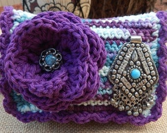HALF PRICE CLEARANCE  ~  Crocheted Purse  ~  Grape and Turquoise Bohemian Style Crocheted Cotton Little Bit Purse