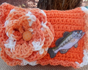 HALF PRICE CLEARANCE ~  Crocheted Purse  ~ Orange and White with Bass Crocheted Cotton Little Bit Purse  ~  Bubble Gum Style Crocheted Purse