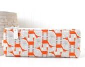 Fox Pencil Case Orange and Gray Pencil Pouch Fox Cosmetic Bag Purse Organizer