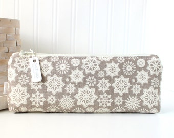 Rustic Snowflakes Pencil Pouch Winter Pencil Case Neutrals Snowflake Purse Organizer