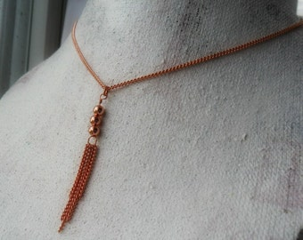 Tassel Necklace Pure Copper Tassel Necklace Delicate Copper Necklace Simple Everyday Jewelry Bohemian Tribal Chic Long Layering Necklace