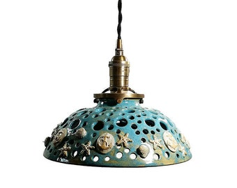 Handcrafted Pottery Hanging Pendant Light with Shells and Anchors