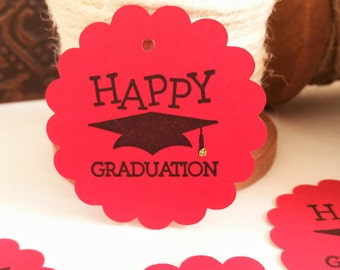 Happy Graduation Tags Black Hat with Tassel Red Party Favor and Gift Label