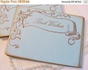 SALE Wedding Wish Cards Vintage Inspired Banner Something Blue Shabby Cottage Style Set of 25