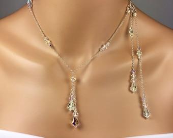 Statement Backdrop Necklace 3 Piece Jewelry Set Sparkly Bridal Jewelry Crystal Y Necklace Swarovski Crystal Necklace Earring Bracelet Stacey