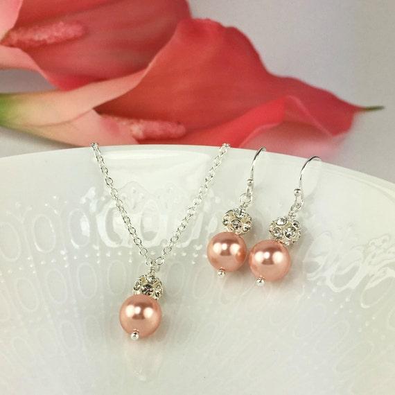 Pink peach bridesmaid jewelry set peach rose pink peach for Pink wedding jewelry sets