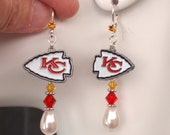 KG Chiefs Earrings, Kansas City Chiefs Bling, White Pearl, Red and Gold Crystal Earrings, Pro Football Chiefs Jewelry Accessory Fanwear
