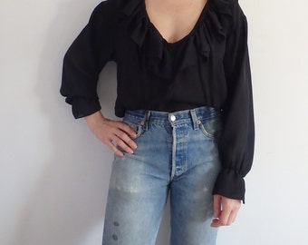 Womens Blouse Vintage Black Ruffles Sheer