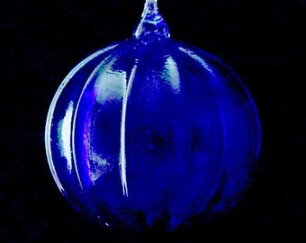 Blown Ribbed Glass Ornament - Cobalt Blue - Handmade