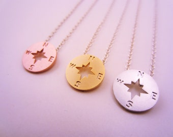 Best friend gift. Compass necklace. Set of three necklaces. Silver, yellow gold, rose gold charms. Charm necklace.
