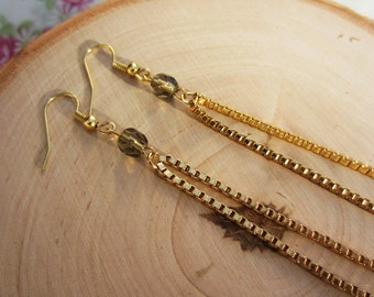 Extra long gold dangle earrings. Slate gray Czech glass beads. Upcycled chain. Handmade jewelry. One of a kind gift.