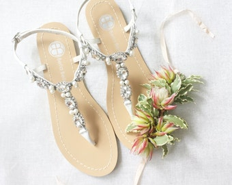 Pearl Wedding Sandals Shoes with Something Blue Sole and Oval Jewel Crystals for Beach or Destination PREORDER
