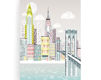 New York Wall Art Canvas, Manhattan Skyline Print, Brooklyn Bridge, Home decor, Empire State Building, Chrysler Building, NYBB1