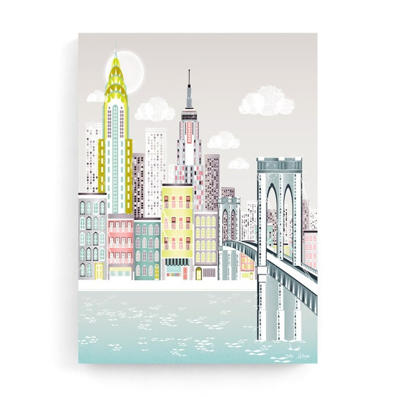 New York Wall Art Canvas, Manhattan Skyline Print, Brooklyn Bridge, Home decor, Empire State Building, Chrysler Building, NYBB1