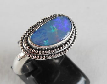 Silver sterling doublet Opal Ring /  unique item - only size 7 /  silver  925 / Bali handmade jewelry / (#707m17)