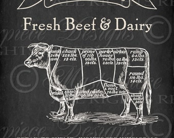 Fresh Beef And Dairy Printable Art / Butcher's Chart / Chalkboard Sign / Meat Chart / Cow - 8x10 Inch Printable Art / Download and Print