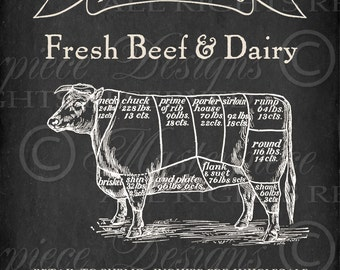 Fresh Beef And Dairy / Butcher's Chart / Meat Chart / Cow - 8x10 Inch Digital Print / Printable Instant Download and Print / Digital Sheet