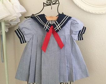 Girls nautical sailor summer dress
