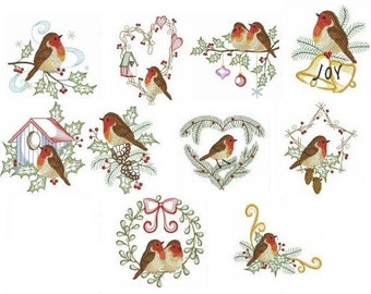 Embroidered  quilt blocks--Winter Robins