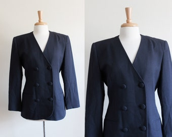 Vintage Navy Blue Crepe Christian Dior Jacket
