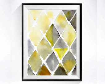 74b Abstract Watercolor Art PRINT / Mid century modern / Geometric diamond artwork / Yellow color field poster / zig zag wall decor