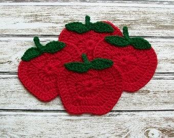 Apple Coaster Red Fruit Crochet COTTON housewarming gift kitchen decor set of 4 handmade