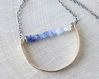 Raw Sapphire Necklace, September Birthstone, Ombre Sapphire Necklace, Mixed Metal, Oxidized Silver and Gold, Modern Long Necklace