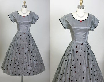Vintage 1950s 50s Elegant NOS Gingham Cut Out Full Party Dress XS