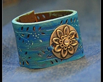 Ice Princess Recycled Leather Cuff