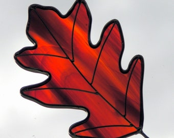 Stained Glass Red Oak Leaf Sun Catcher
