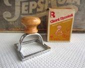 Vintage Rowoco Giant Ravioli Stamp Made in Italy 2 3/4 Ravioli Maker Metal Wood Handle
