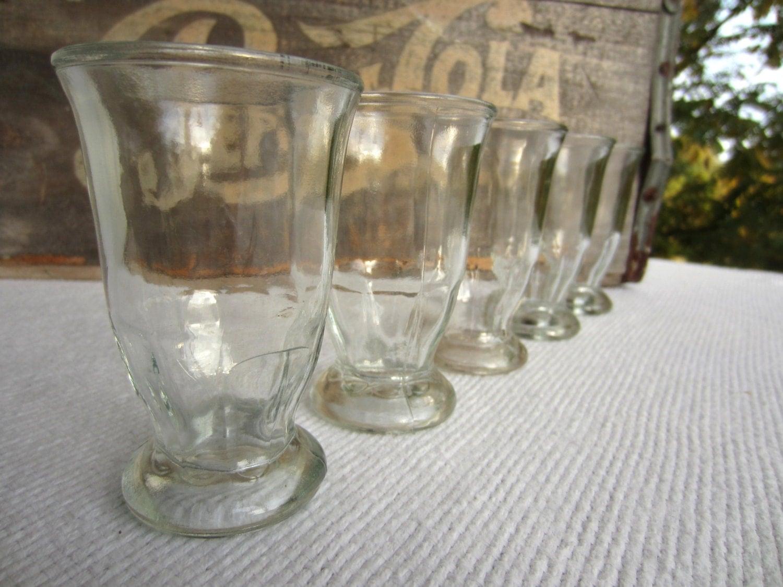 Vintage Small Clear Pedestal Glasses Juice Shrimp Cocktail