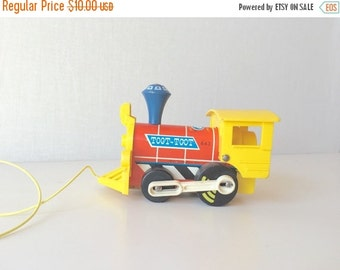 FALL SALE Vintage Train Toy Wooden Pull Toy Fisher Price Toot Toot 643