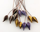 Reserved, Lampwork Glass Bead Head Pins Headpin Assortment, Etched Beads on 20 Gauge Antique Copper Wire