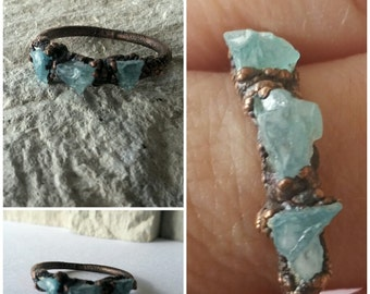 Raw Aquamarine Ring Copper Handmade free form rustic Antiqued  Unique One of a Kind Electroformed Boho Bohemian FREE SHIPPING