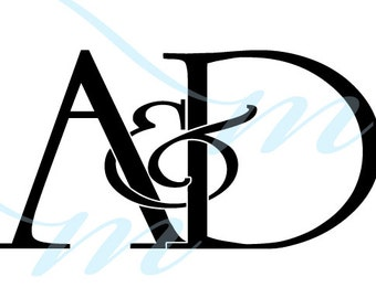 Intertwining Ampersand Monogram - A&D (instant download - JPG, PSD, PDF)