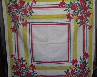 1950s Print Kitchen Table Cloth - Ruby Trumpet Flowers