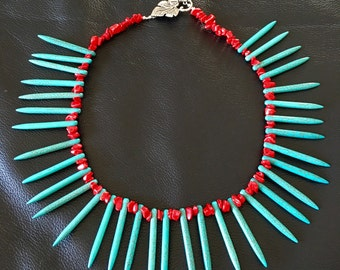 Turquoise Needle Gemstones with Red Coral Beaded Necklace