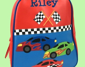 Personalized Stephen Joseph GoGo Backpack RACE CAR Themed Bag-Monogramming Included