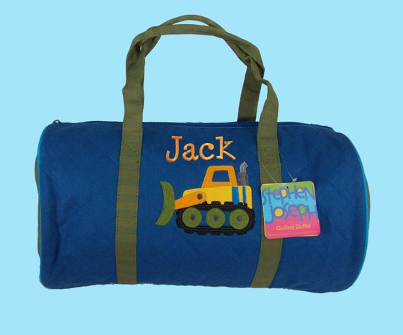 Child's Monogrammed Stephen Joseph CONSTRUCTION Quilted Duffle Bag