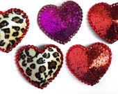 Fuzzy Leopard or Red Glitter Heart Burlesque Pasties with Crystals