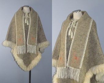 ON HOLD / Not for Sale / Alpaca wool fur serape poncho / vintage 1970s poncho / cape wrap capote manteau shawl sweater coat