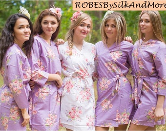 Dusty Purple Faded Flowers Bridesmaids Robe Sets Kimono Robes. Bridesmaids gifts. Getting ready robes. Bridal Party Robes. Floral Robes.