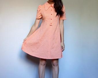 Vintage Orange Dress Checkered Puffed Short Sleeve Babydoll Collar Bright Plaid Flared Dress - Medium to Large M L