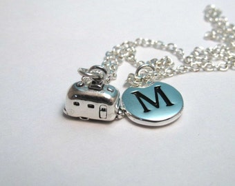Travel Trailer Sterling Silver Charm, RV Necklace, Airstream Charm, Camping Keychain, Personalized, Monogram Charm
