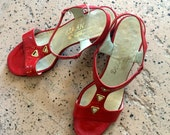 vintage Delman red patent leather 60s space age mod sandals pumps 7